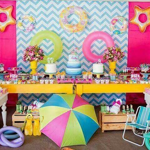 Decoraci n para pool party polly pocket pinterest for Albercas para fiestas