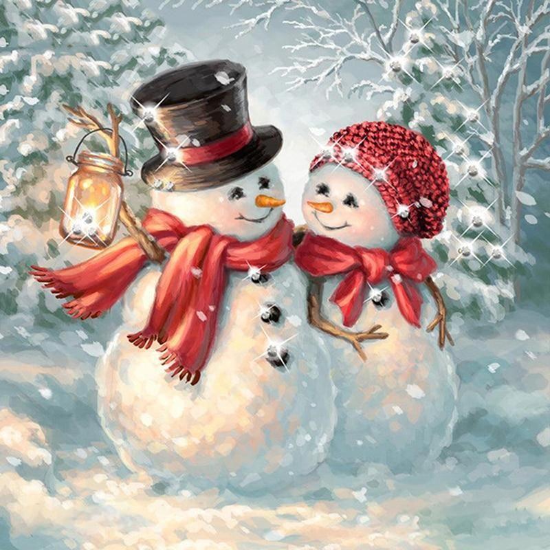 5d Diamond Painting Full Drill Square Santa Claus Snowman Diamond Embroidery Rhinestone Picture Mosaic Christmas Decoration - 1 / Square 45x45cm / China