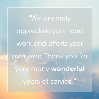 Sample Employee Appreciation Messages for Years of Service