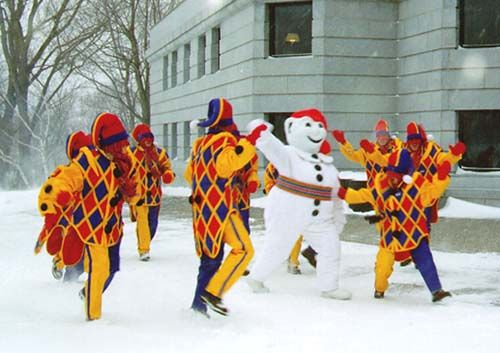 Bonhomme Carnaval And Friends At The Quebec Winter