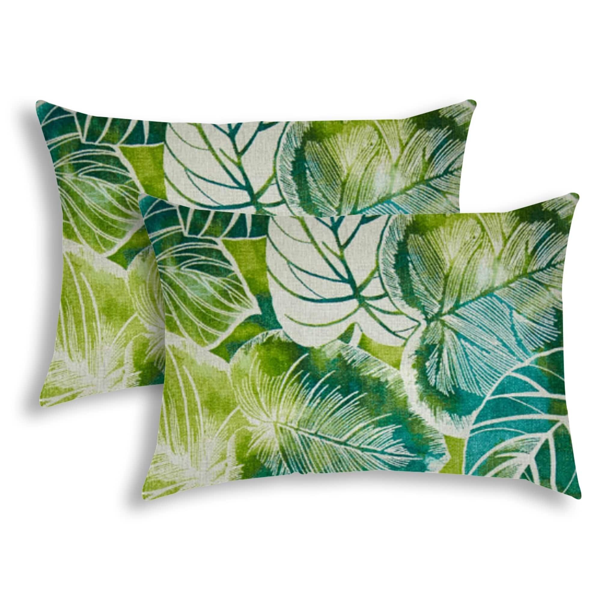 Calopia Teal Indoor Outdoor Pillow Sewn Closure Set Of 2