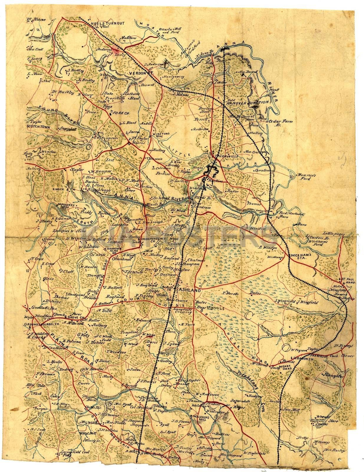 Civil War Map Of The Northern Hanover Va