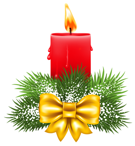 Transparent Christmas Red Candle PNG Clipart