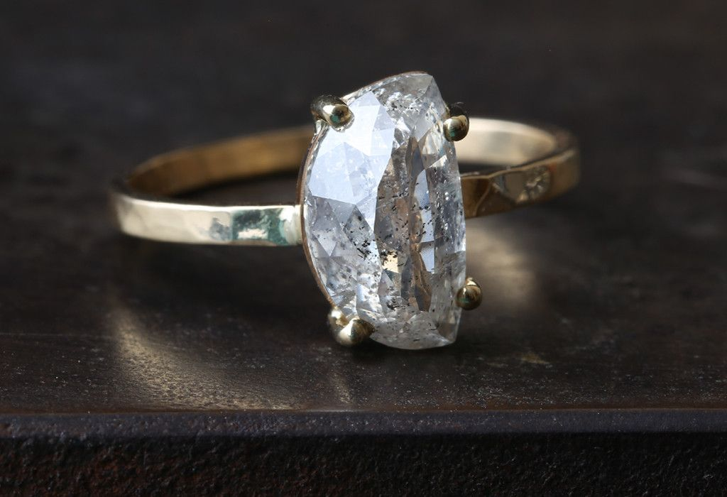 One of a Kind Natural Rose Cut Half Moon Diamond Ring