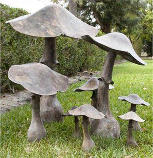 Mushrooms In Metal Bronze Or Copper Concrete Garden Garden Sculpture Cement Garden