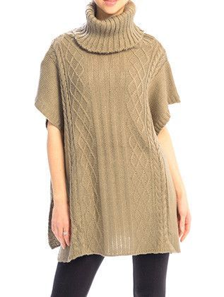 TURTLE NECK KNITTED PONCHO ACCENT BUTTON 29 INCH LONG 28 INCH WIDE 100 ACRYLIC ONE SIZE JTF99210KHA