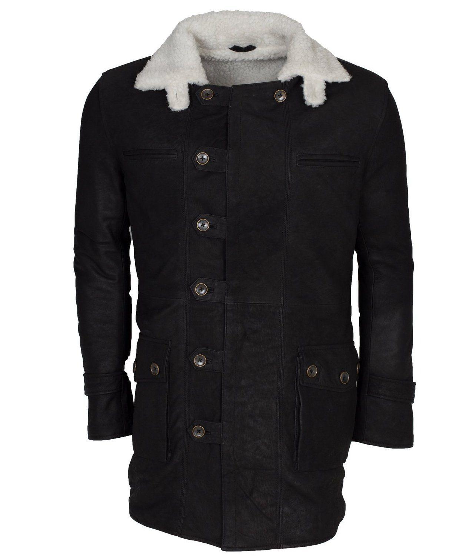 Bane Black Fur Lined Black Celebrity Leather Coat Amazon
