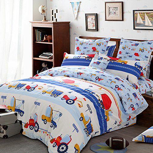 Lelva Cartoon Bedding Kids Bedding Set Cotton Boys Truck Bedding