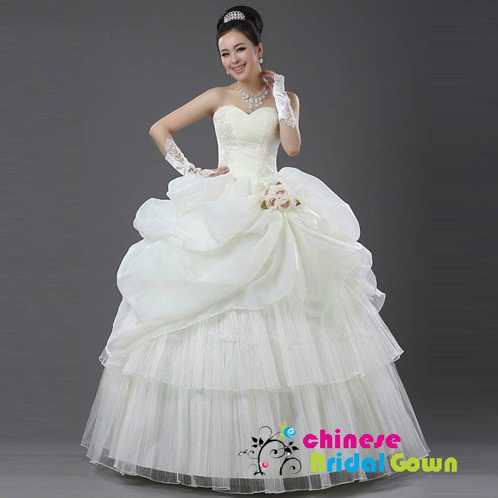 Style 5029, Excellent Organza Ball Gown Sweetheart Chinese Wedding Dress by CBG.