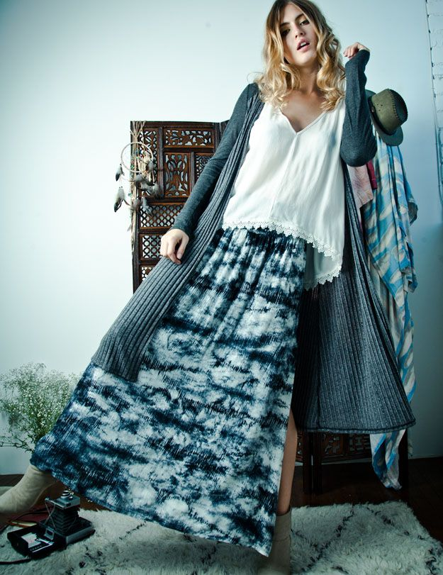 Fall Collection-Tie dye maxi skirt and lace cami