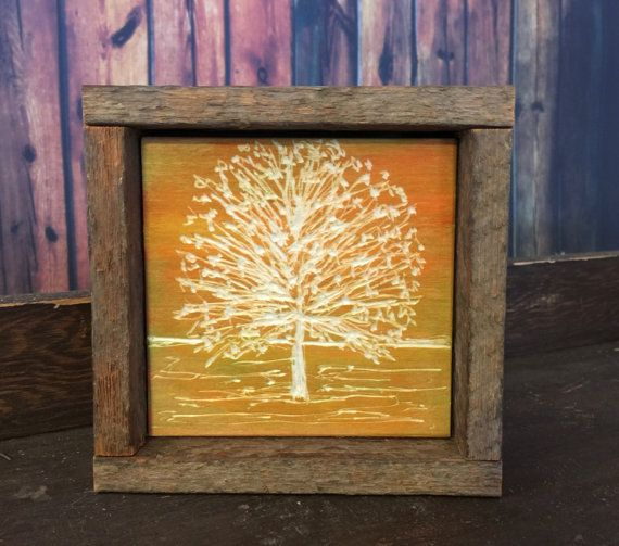 Rustic Fall Decor, Engraved Wood, Reclaimed Art, Orange, Yellow ...