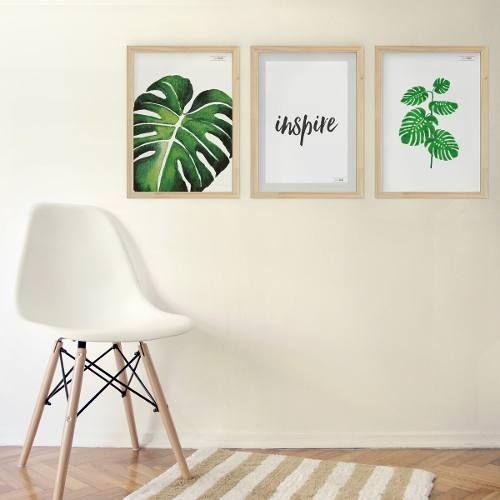 Hogar Bricolaje Decoración Planta Verde Lienzo Arte Ilustración Cartel Hoja