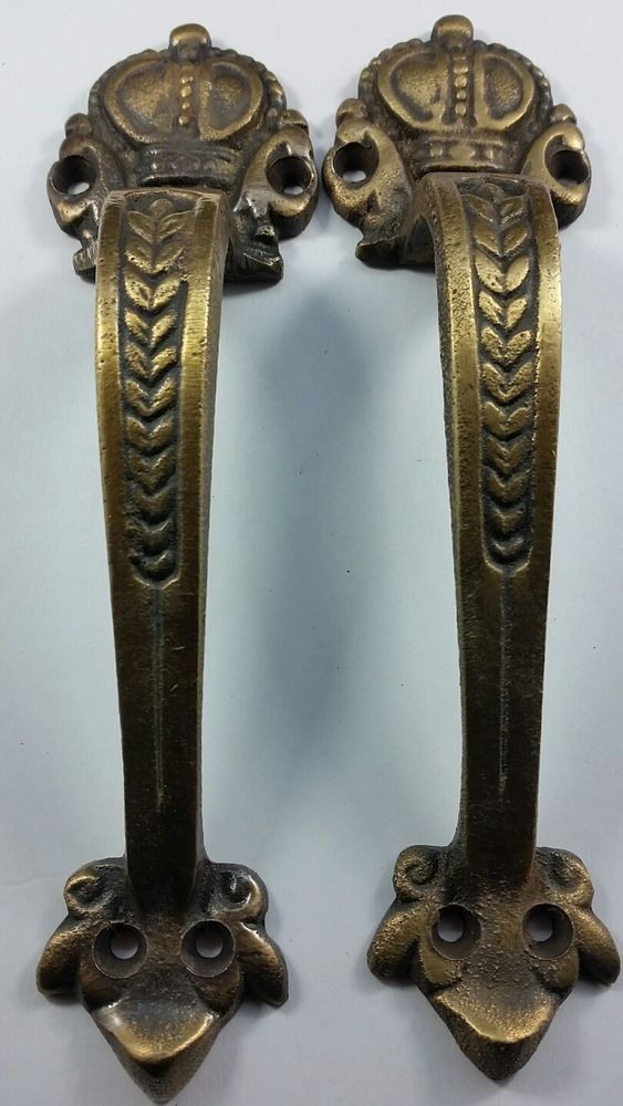 Details About 2 Solid Brass Crown Handles 6 3 4 Pulls Door
