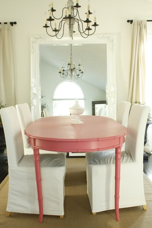 Home Pink Home ♡ Eclectic Dining Room With Pink Table