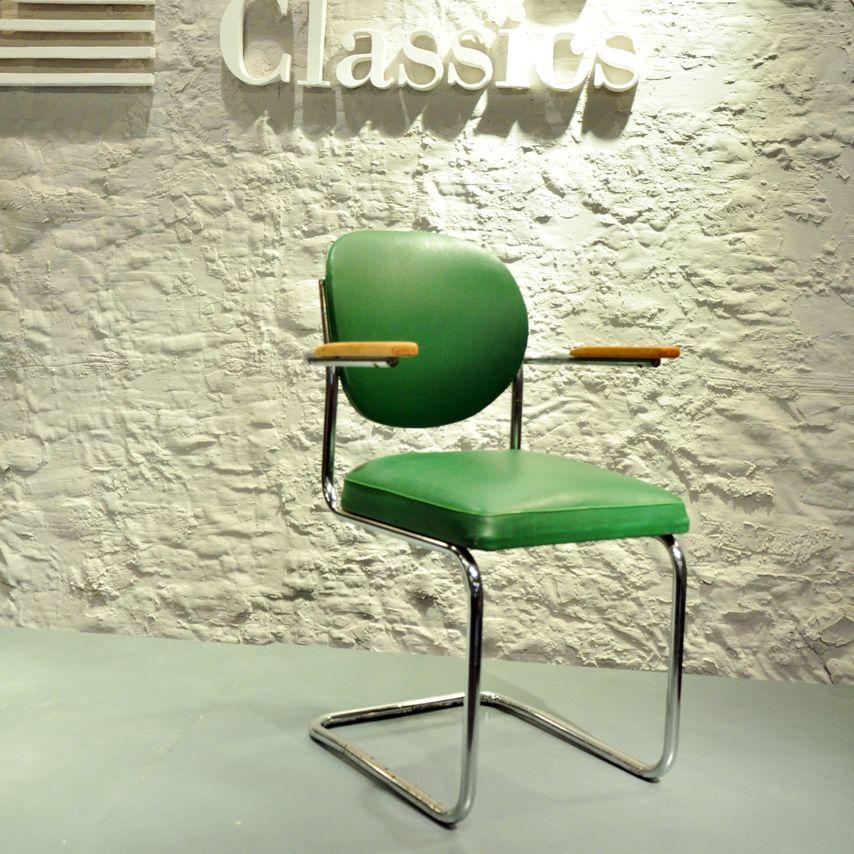 60s Freischwinger Stuhl Stahlrohr Drabert Minden grün arm chair ...