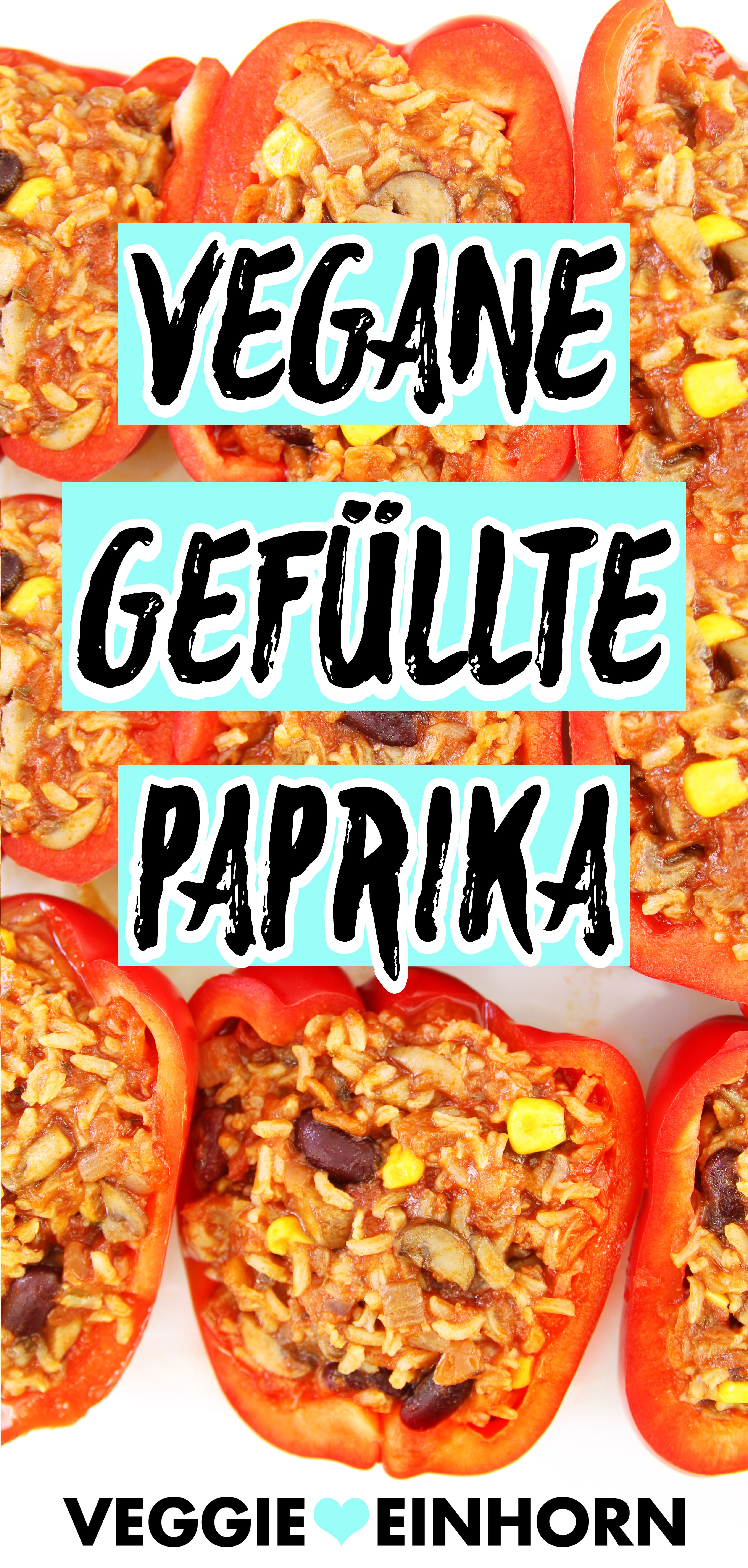 Vegane gefüllte Paprika {Mit Reis, Mais, Bohnen und Champignons} Einfach und gesund
