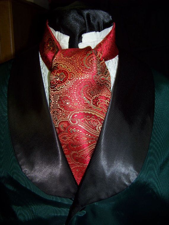 Cravat and Ascot Red Green and Gold Paisley by lavonsdesigns