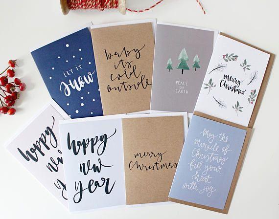 Weihnachtskarten handgezüchte moderne A6 Cards frohe Weihnachten, Let it Snow, Happy New Year Aquarell Designs Rustic Kraft Cards Set
