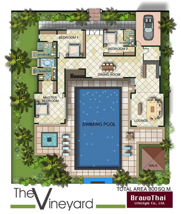 U shaped house plans with pool contemporary house with for U shaped floor plans with pool