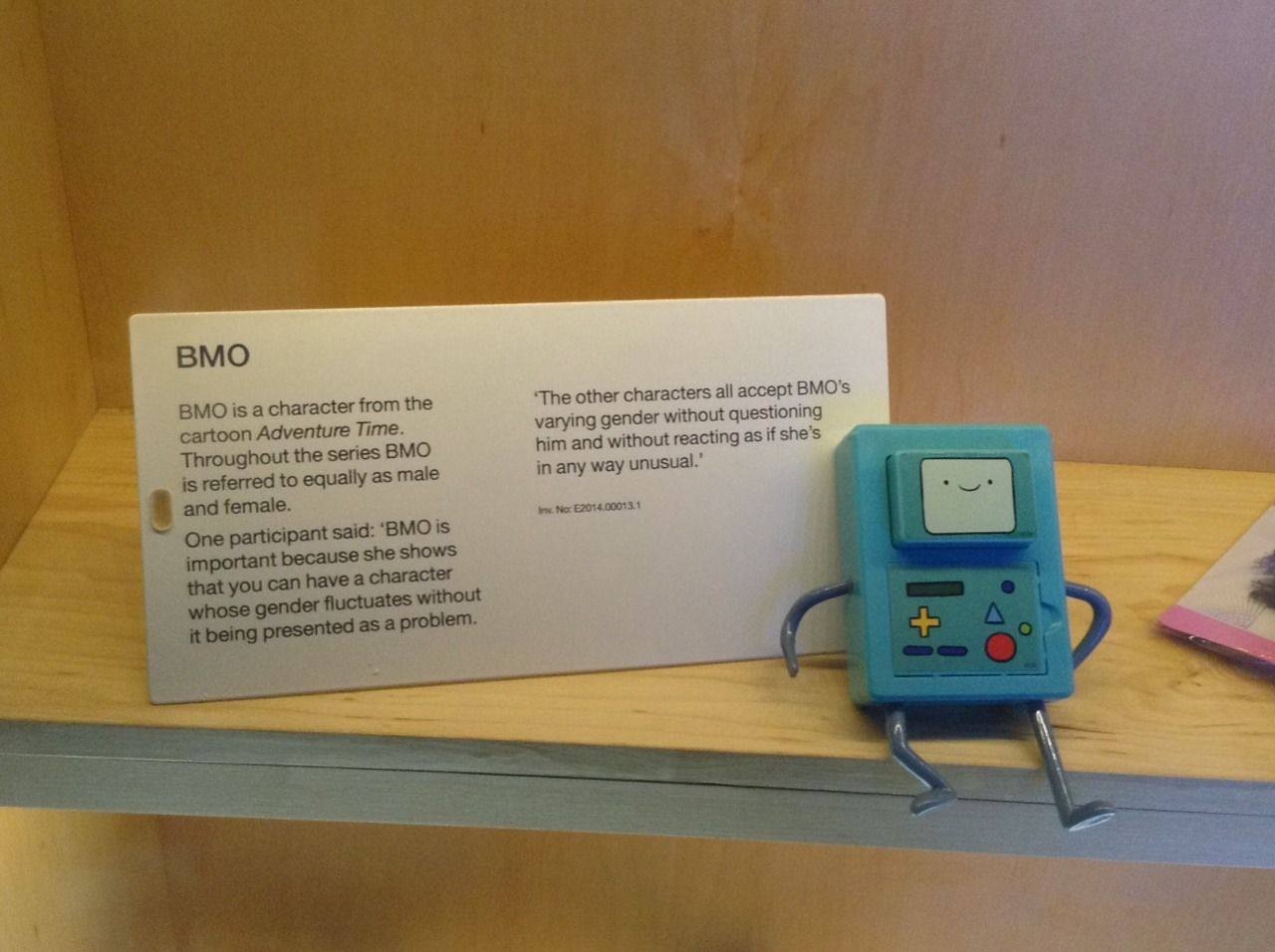 BMO on display in a London museum as a healthy gender-fluid character.