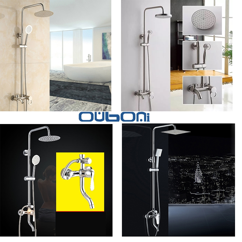 93.28$  Buy here - http://alir1m.shopchina.info/go.php?t=32805504411 - Bathroom Shower Set Rain Shower Head Bath Shower Mixer with Hand Shower Brass Material Chrome Polished And Nickel Brushed  #magazineonline