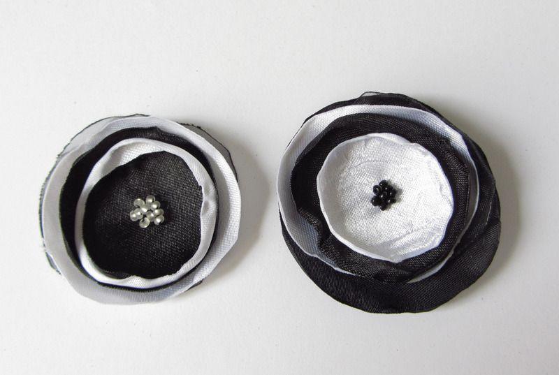 Haarschmuck Klammer Organza-Blüte in schwarz-weiß von soschoen auf DaWanda.com