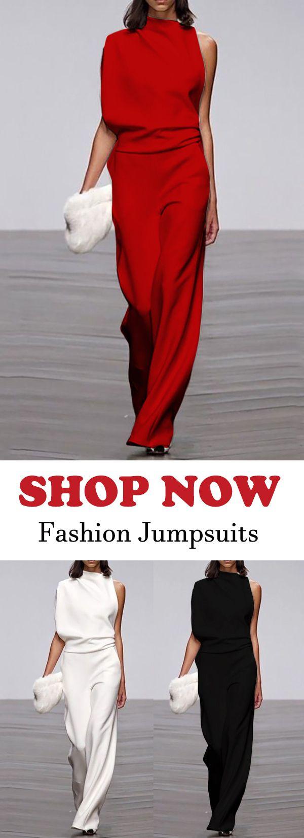 Women's Commuting Asymmetry Sleeve Pure Colour Jumpsuit #jumpsuitfashion