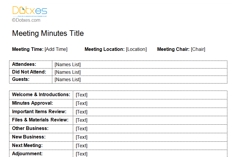 Standard Format Of Meeting Minutes Template (Featured Image  Meeting Minutes Format Template