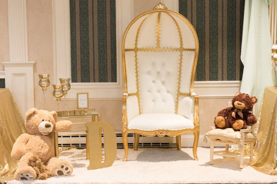 Mommy To Be Section Gold Royal Throne Chair   Mint Green And Champagne  Classy Mustache U0026