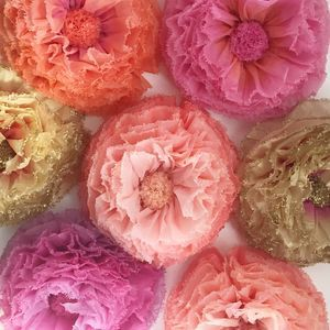 Nine coral hot pink and gold hand dyed paper flowers summer nine coral hot pink and gold hand dyed paper flowers summer wedding mightylinksfo