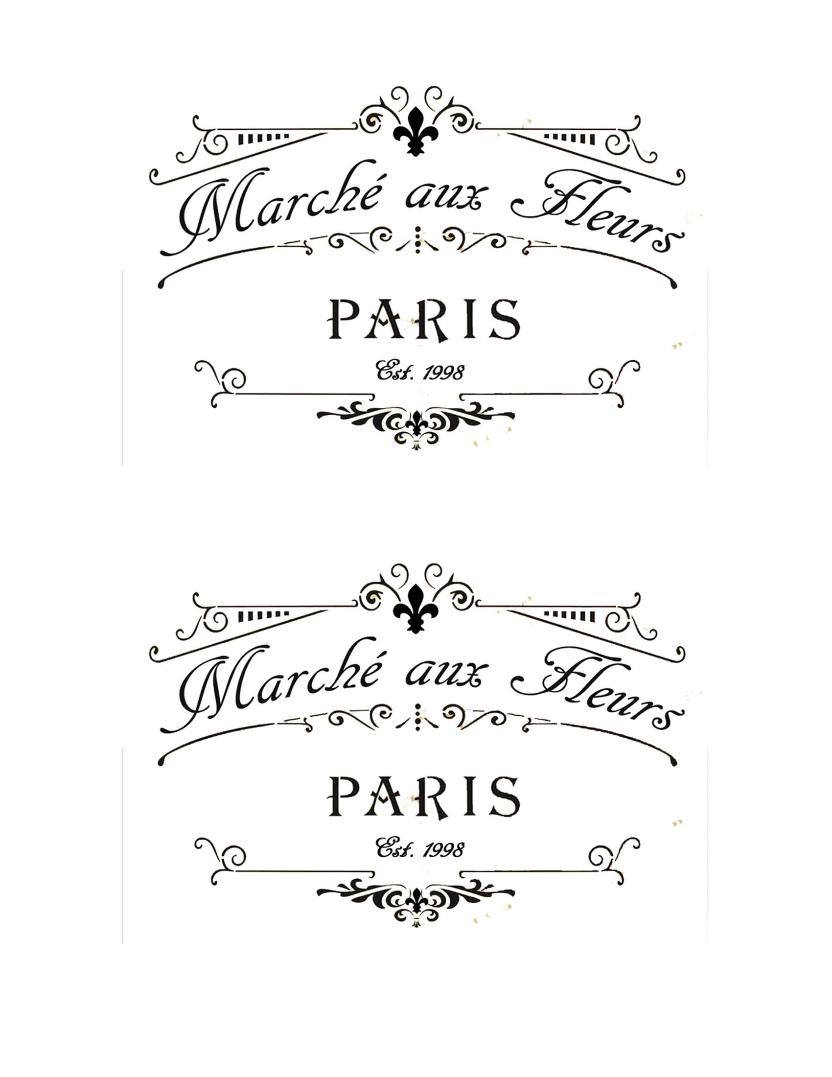 French Flower Market Labels 4 X6 French Typography French Stencil French Signs