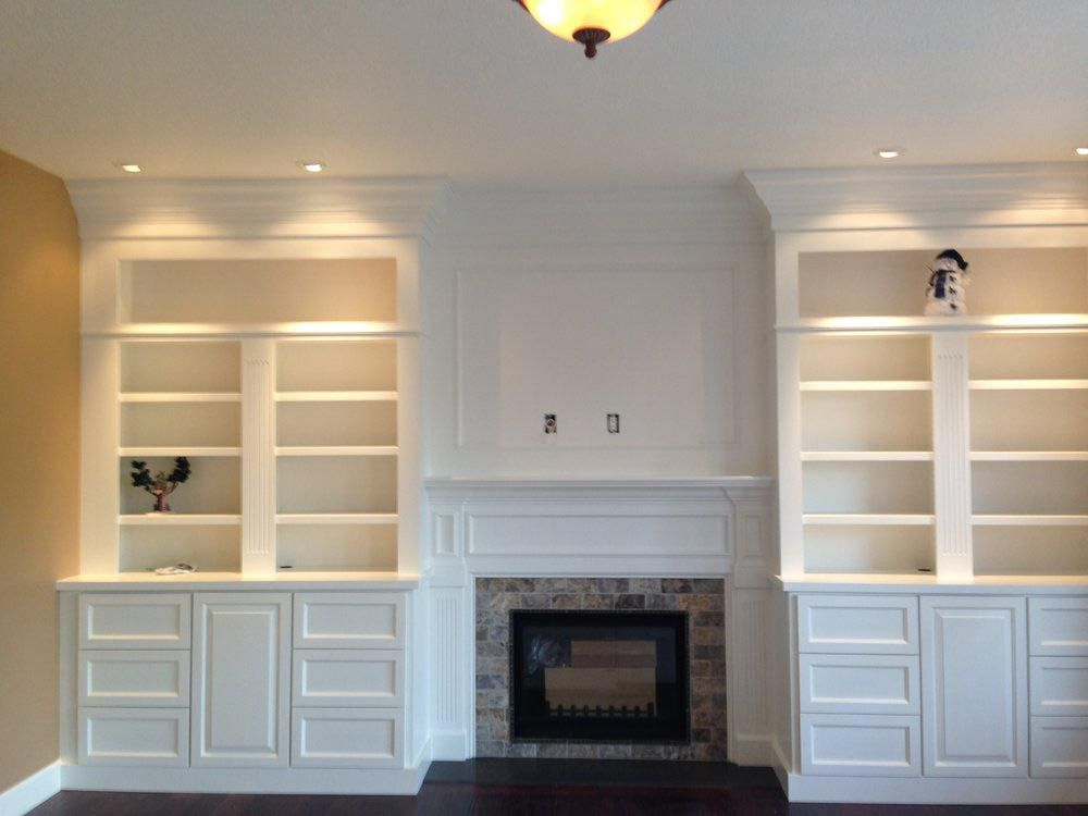 Gas Fireplace Surrounds With Bookcases Built In Shelves Living