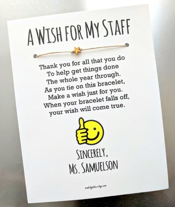 A Wish for My Staff - Wish Bracelet with a You're a Star Bead - Employee Appreciation Gift Custom Made for You
