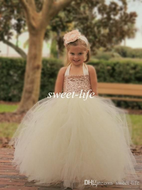 72ba76136 Cute Ivory Flower Girl Dresses 2015 Bling Rose Gold Sequin Halter Tutu  Floor Length Ball Gown Cheap Custom Made Little Girls Pageant Dresses