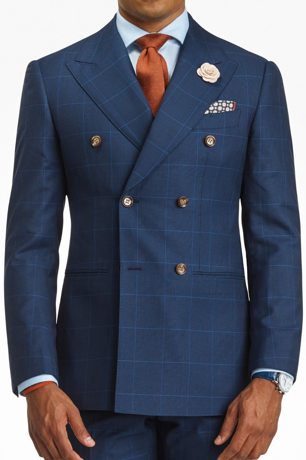 552b144fd5b34 Agani - Blue Windowpane Double Breasted Suit - Suits - Main - Shop