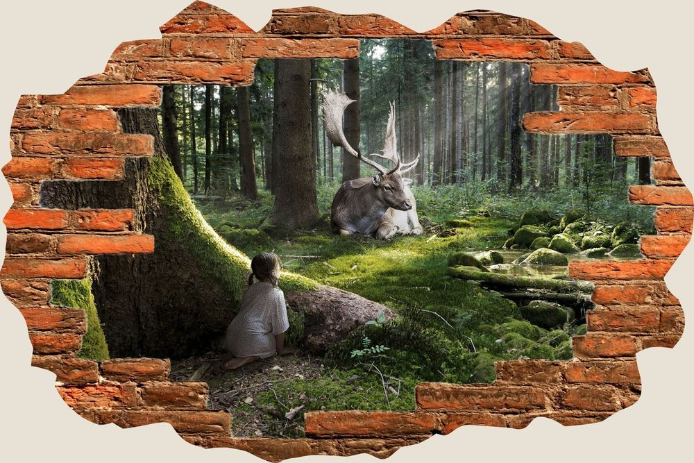 Details about 3D Hole in Wall Enchanted Forest View Wall