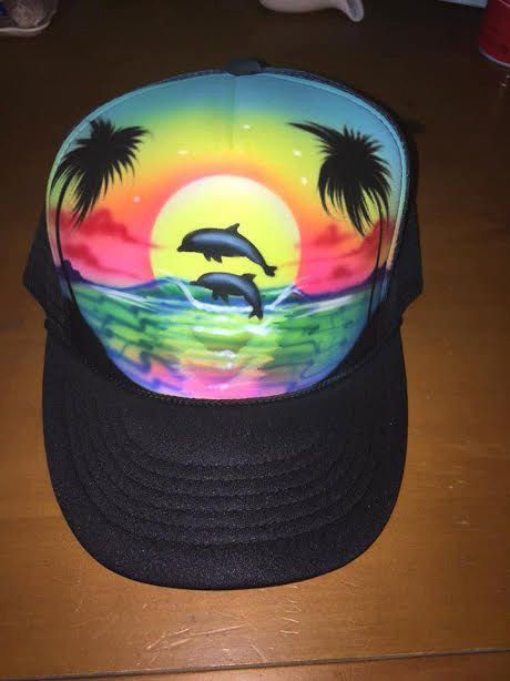 cedbfadbab3 Airbrushed Beach Scene Trucker hat by Giftsplus2007 on Etsy