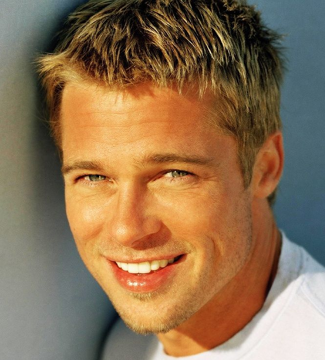Celebrity Hairstyles Brad Pitt with Short Bleached Blonde