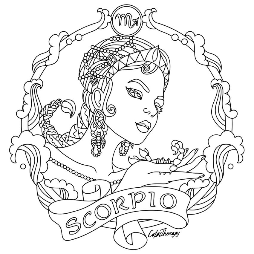 Scorpio Zodiac Beauty Colouring Page Adult Colouring Pinterest