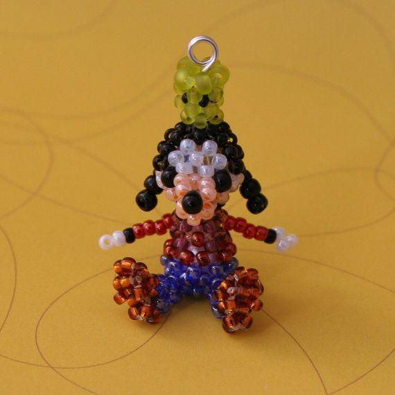 Miniature Seed Bead Doll Figure Disney Goofy by JennyLouCreations, $15.00