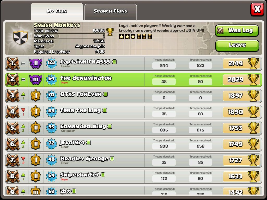 Come Join This Awesome Clan The Name Is Smash Monkeys We Donate When You Clash Of Clanschampions