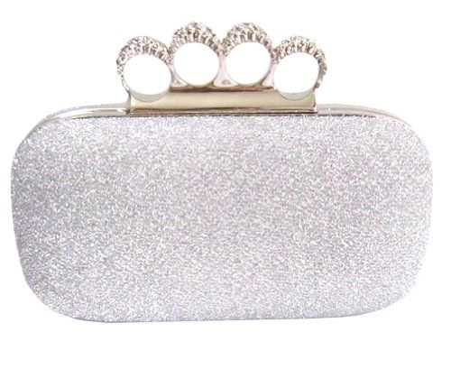 Chicastic Glitter Metallic Duster Four Ring Knuckle Clutch Evening ...