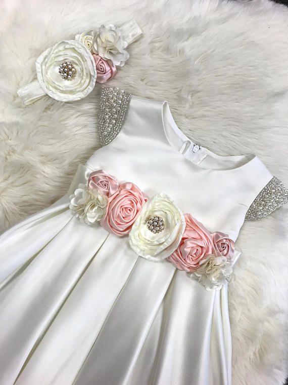82c67312f5a9 Flower Girl Dress Baby Girl Dress white satin baby dress