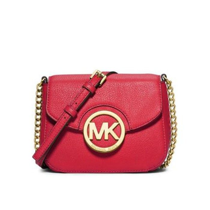 2f7b1a11c123 MICHAEL Michael Kors Fulton Leather Small Crossbody Bag Red ...