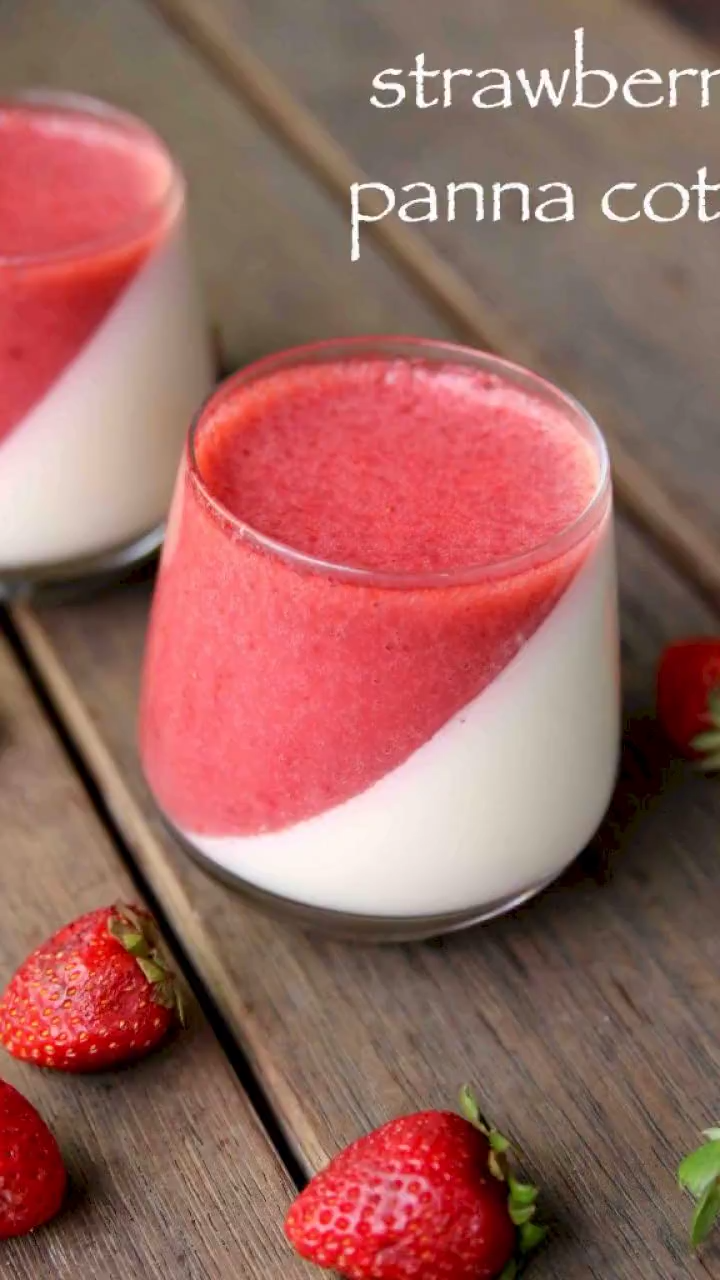 Photo of strawberry panna cotta recipe | strawberry panna cotta without gelatin
