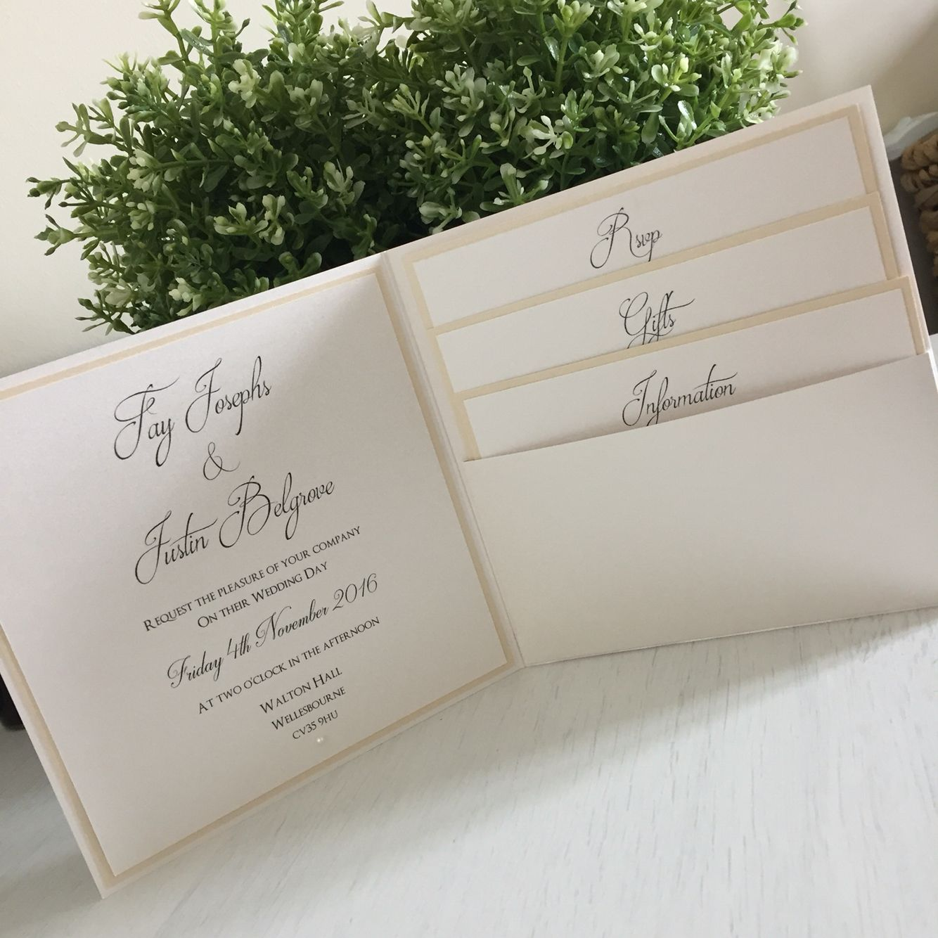 champagne blush wedding invitations%0A A glamorous chic pocket fold Wedding invitation  Colours  Oyster  Champagne  Gold