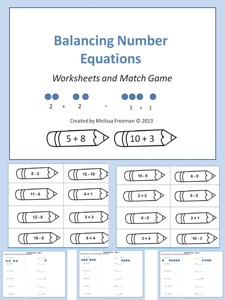 A balancing number equations game and worksheets. (second grade ...