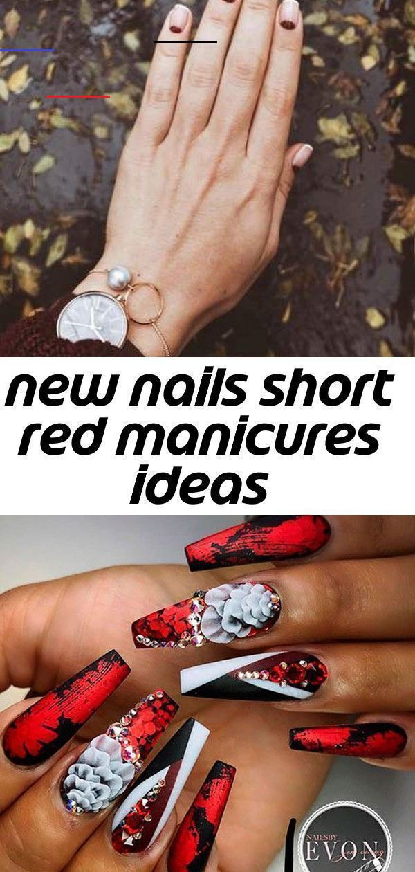 New nails short red manicures ideas Cute Red, Black, and White Long Coffin Nails...  #Black #Coffin #cute #ideas #Long #manicures #nails #red #Short #white<br>