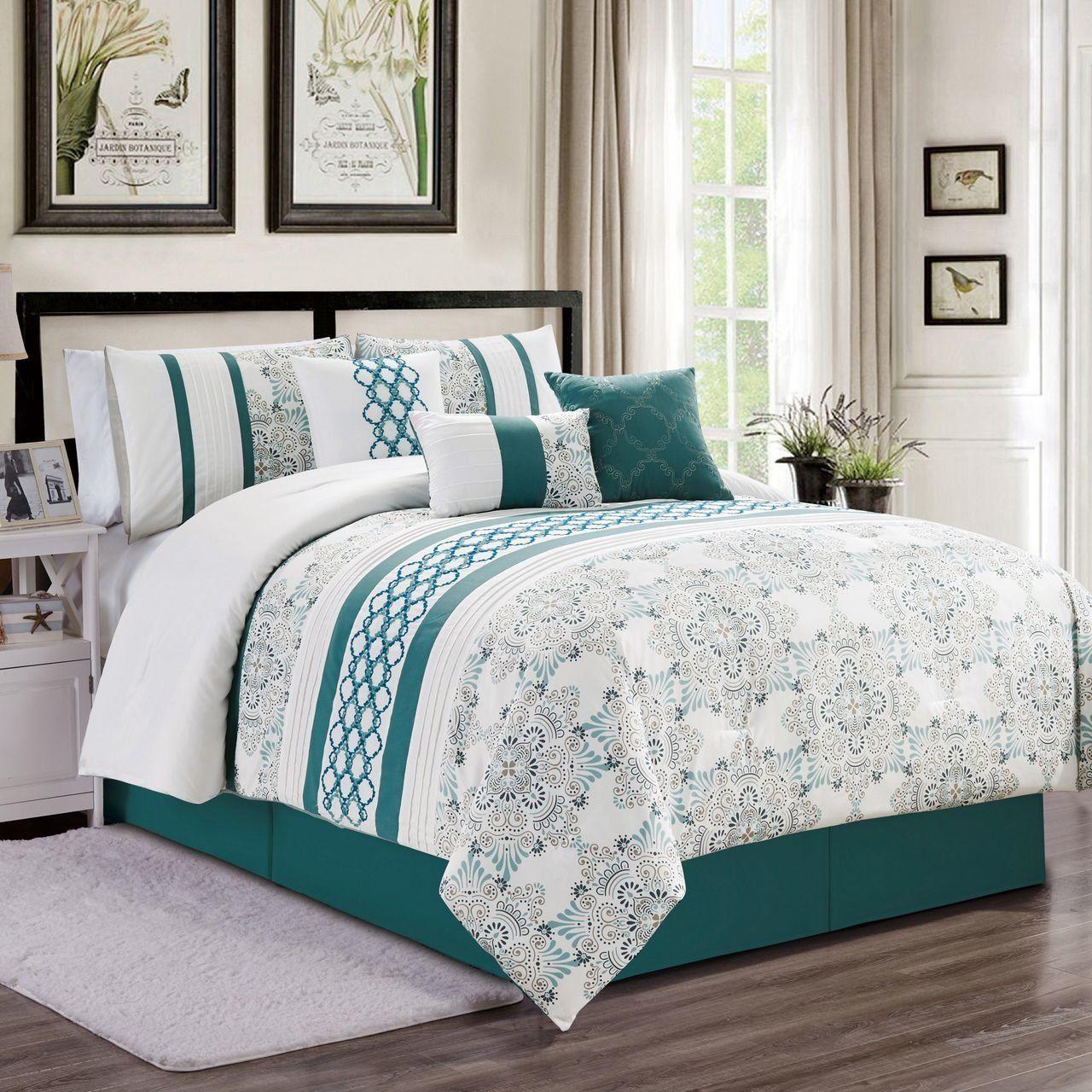 7 Piece Kulbert Teal/White Comforter Set in 2020