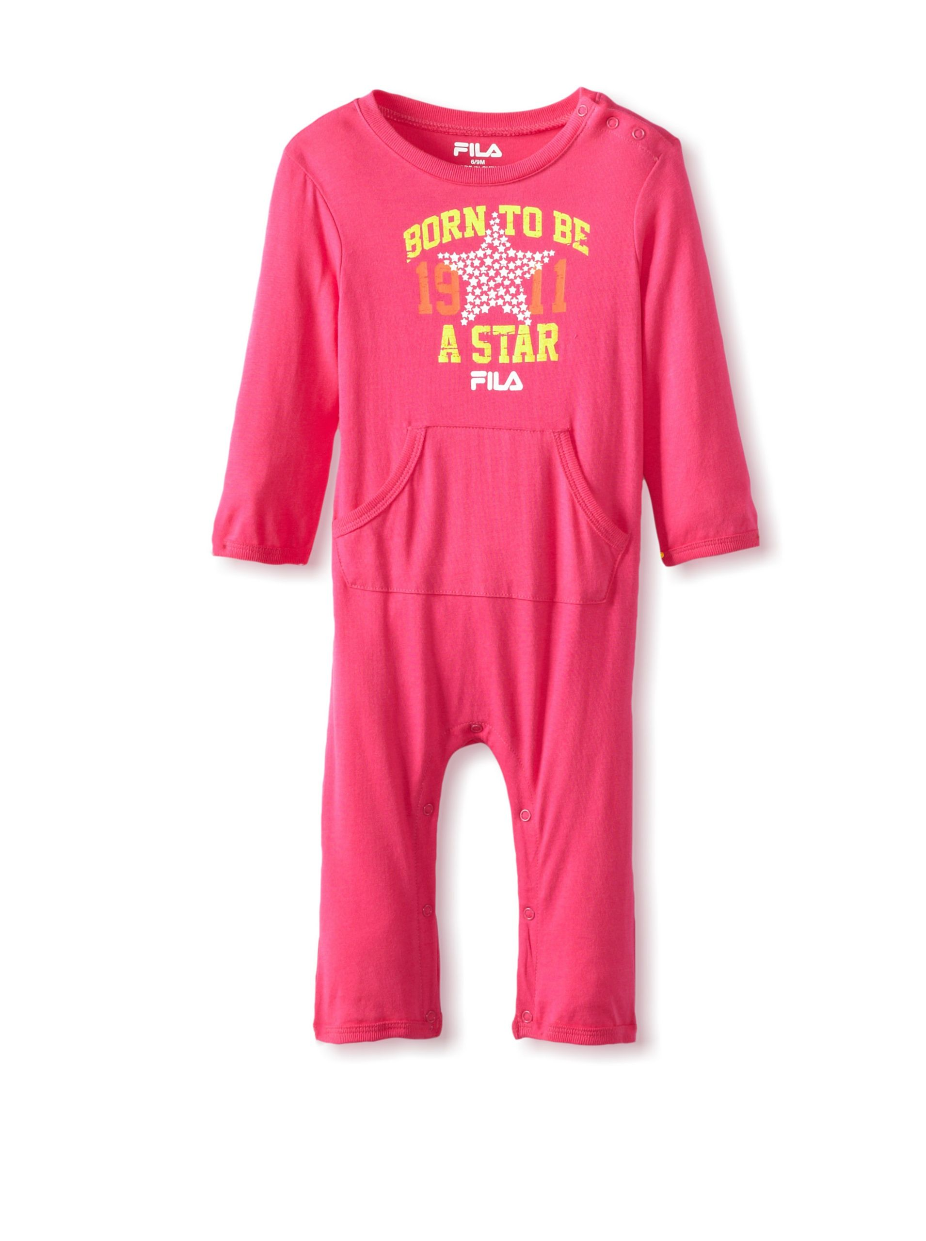 dd4b60e3d0c Fila Baby Coverall (Pink Glo) Soft and lightweight knit romper with ribbed  knit trim